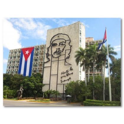 Αφίσα (Κούβα, che, σημαία, δέντρο, πόλη, ουρανός)